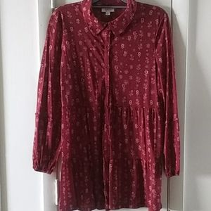 Red tunic style sz large blouse